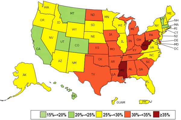 CDC obesity in numbers